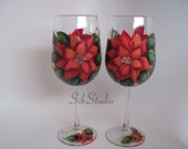 Red Poinsettias Wine Glasses, Original Artwork, Set of 2, Fine Art Painted Stemware, Christmas Wine Glasses, Functional Art