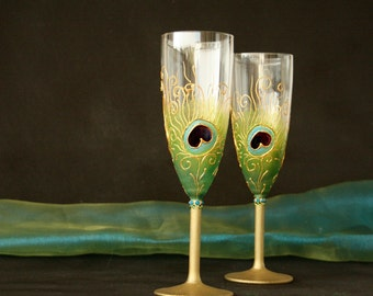 Peacock Glasses, Champagne Flutes, Wedding Glasses, Peacock Wedding, Indian Wedding, HAND PAINTED, Set of 2