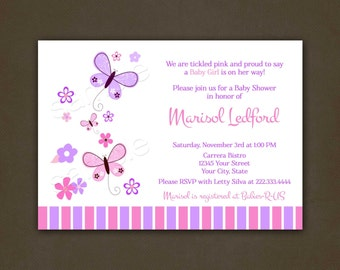 Butterflies Baby Shower Invitations, Printable File, for Girl, Butterflies, Lilac, Baby Girl, Flowers, Baby Shower