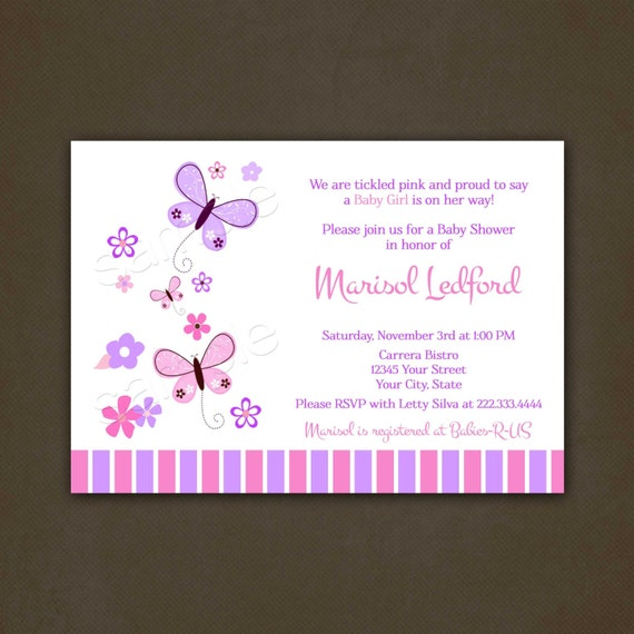 Butterfly Baby Shower Invites: Butterflies Baby Shower Invitations Printable File For Girl