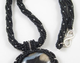 Black Silver Beige Necklace - Beadwoven Petrified Wood – Sterling Silver