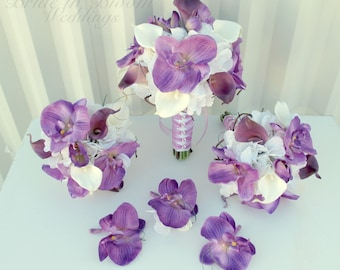 6 piece Wedding bouquet set Lavender white calla lily orchid bouquets & boutonnieres