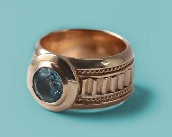 14k Rose Gold Topaz Ring, Gemstone Ring, London blue topaz engagement ring, December Birthstone Ring,Promise Ring, Engagement Ring