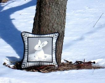 """Square Pillow Where are you? 14"""" x 14"""" Decorative home accent Rabbit Bunny Black Gray White Stripes Unique design Animal Nature"""