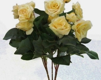 Silk Flowers - 15 Inch YELLOW Rose Bush -  Artificial Roses