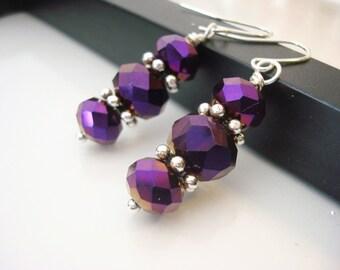 Metallic Purple Earrings, Purple Earrings, Purple Crystal Earrings, Drop Earrings, Dark Purple Earrings, Gift for Her, Silver Earrings