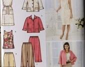 Adult Size 20 22 24 26 28 Simplicity 3757 Pants or Shorts Dress Tunic Belt Jacket Seperates Wardrobe Women MIsses Uncut Sew Sewing Pattern