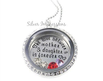 Mother Floating Locket / The Love Between a Mother and Daughter is Forever / Floating Lockets / Memory Locket