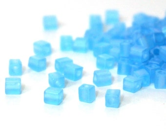 glass cube beads, 4mm frosted light sky blue rainbow, Miyuki cubes, 200 beads (1001SB)