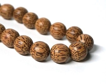 15mm Palm Wood Beads Round Natural Brown Woodgrain (1036R)