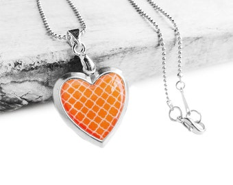 Get 15% OFF - Double Sided - Handmade Resin Orange Quatrefoil Pattern Silver Heart-shape Locket Necklace - Mother's Day SALE 2017