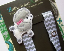 Pacifier Clip, Dog, Poodle, Girl Pacifier Clip, Pacifier Holder, Binky Clip, Baby Gift, Paci Clip, Universal Pacifier, Binky Holder, pcdog09