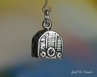 Sterling Silver Radio Charm Vintage Style Music Player 3D Solid .925