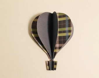 3d Hot Air Balloon -   blue, plaid