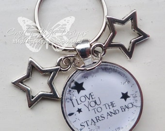 I Love You To The Stars And Back' Glass Tile Key Ring