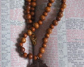 Clearance. Cross Crucifix Beaded Necklace Wooden Bayong Beads. Natural Philippine beads. Handmade. Ordination . Unisex gift. Christian.