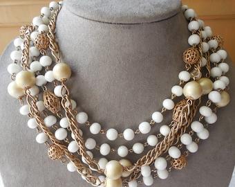 Vintage 6 Strand LISNER White & Gold Filigree Chunky Choker Necklace    KV2