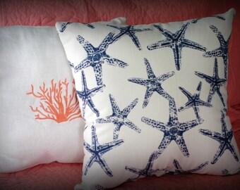 Beach House Decor - Navy Starfish Pillow