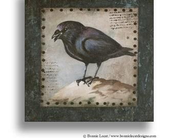 Original Acrylic Blackbird Painting, Painting of a Black Crow, Raven Painting, Vintage Style Original Art, Halloween Art, Black Bird Art