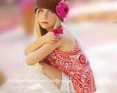 Girl Hat,  Toddler Girl Flapper Hat, Girl Handmade Hat, Brown Hat, Hot Rose Flower. Photo Prop. Gift for Girl. Hats and Bonnets. Kids.