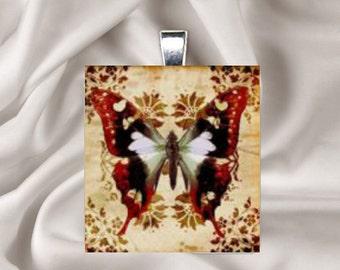 Pendant Necklace Damask Butterfly