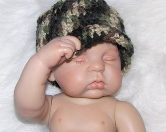 Baby Boy or Girl Military or Hunter HAT - Newborn Photo Prop - Pink Camo - Camo OR Orange - Hunting - Reborn Doll