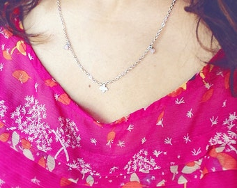 Small Beaded Flower Chain - Silver/Gold Layering Chain Style