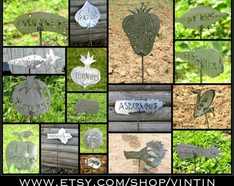 BUY 6, GET 1 - Any 6 Garden Signs, Get the 7th For Free - Hand Made Iron Steel Sheet Metal Foot Tall Vegetable Garden Markers by VinTin