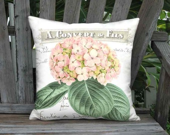 Pillow Cover - Pillow - Cotillion Pink Shabby Chic Pink Hydrangea Flower 12x 14x 16x 18x 20x 22x 24x 26x Inch Linen Cotton Cushion Cover