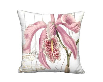Orchid French Cottage Pillow Cover - Mauve Pink Orchid Flower Pillow - 16x 18x 20x 22x 24x 26x 28x Inch Linen Cotton Cushion Cover
