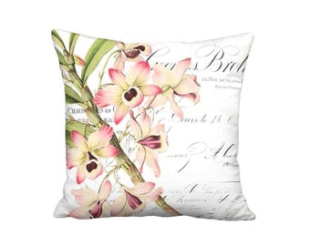 Pillow Cover - Pillow - Brottier Orchid French Cottage Pink Flower - 16x 18x 20x 22x 24x 26x 28x Inch Linen Cotton Cushion Cover