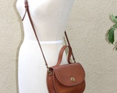 Vintage Coach Bella Court Bag, Small Rounded Satchel with Top Handle, Leather, United States, Crossbody Strap, 1980s Leather Purse Handbag