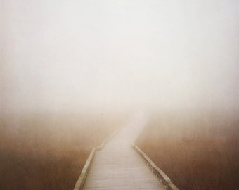 Journey In The Mist - Photography - Path Boardwalk Dock - Photograph Photo - Metallic Print - Beach House Decor -