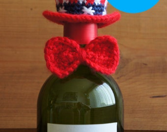 PDF Crochet Pattern- Patriotic Wine Bottle Topper