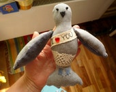 "Postal pigeon with the Love message ' I love you"", soft  art toy textile decoration, save the date gift, by Wassupbrothers.Made to order"