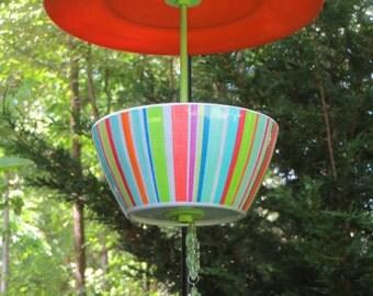 Covered Hanging Bird Feeder, Bright Stripes, Melamine