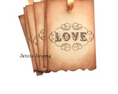 Elegant LOVE Tags with Scrolls, Vintage Inspired