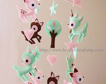 "Baby Mobile - Nursery Mobile - Long Decorative Hearts crib Mobile - ""Deers Love Hearts"" Mobile - Crib Mobile (Custom Color Available)"