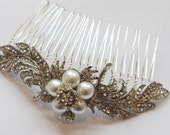 Art Nouveau Pearl and Rhinestone Feather Bridal Hair Comb