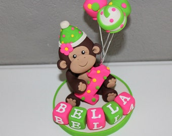 Monkey Custom Cake Topper for Birthday or Baby Shower WITH Balloons