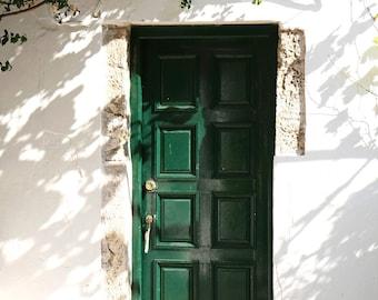 Green Door Photography  - Corfu Greece Photography - Emerald Green Wall Art - Mediterranean Decor Greek Travel Photo Monastery Print