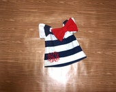 Monogrammed Navy White Stripe Red Short Sleeve Dress Embroidery Bow 0-3 3-6 6-9 9-12 Month 12 Month 18 Month 2T 3T 4T 5T 6 Nautical