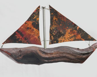 Copper Sailboat And Spoon Fish Wind Chime, Sail Boat, Wooden Boat, Model Ship, Nautical Christmas, Masculine Decor, Sailor, Handmade Boat,