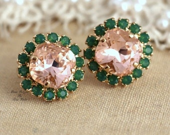 Blush pink peach peridot green Crystal stud earring - 14k 1 micron Thick plated gold post earrings real Swarovski crystals, Blush pink studs