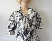 1950s Blouse - bombshell vintage cotton shirt with rhinestones & abstract print