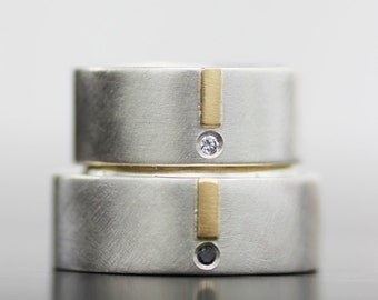 diamond and gold modern wedding ring set - unique engagement ring - 14K gold and silver - his and hers - his and his - hers and hers