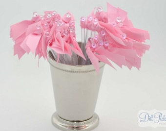 Bubble Gum Pink  Grosgrain Ribbon Cocktail Stirrers - 25 count Clear stir sticks