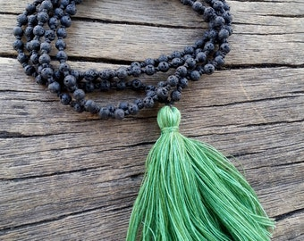 Lava Mala Necklace, Knotted Mala Tassel Necklace, Black Lava Mala Beads Long Tassel Necklace, Yoga Meditation Beads, Santorini Mala Necklace