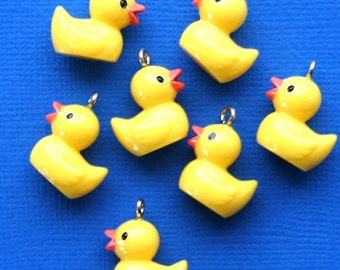 5 Yellow Duckie Charms Adorable Resin 3D - E105