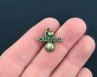 6 Volleyball Charms Antique Bronze Tone I Love Volleyball - BC950